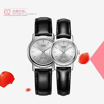 Casio watch 2017 Luxury Lovers' Couple Watches Men casual Watch Women Casual Leather Quartz Wristwatch Clock
