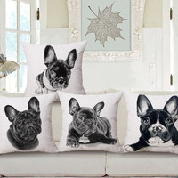 "Square 18"" Boston Terrier Decorative Pillow Covers"