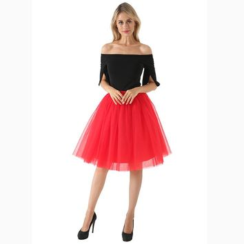 New Puffty Layered TUTU Tulle Skirts Womens High Waist Midi Knee Length Chiffon Skirt Jupe Female Tutu Skirts Faldas Saia