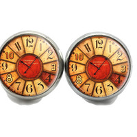 Clock Stud Earrings, Old Clock Face Earrings,  Earrings For Women