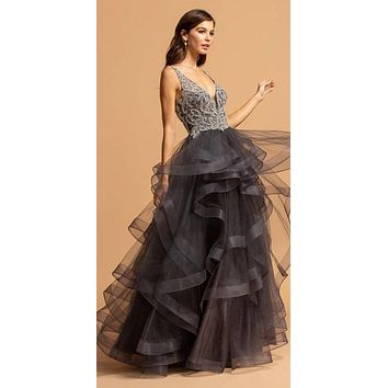 Charcoal V-Neck Tiered Long Prom Dress Beaded Bodice