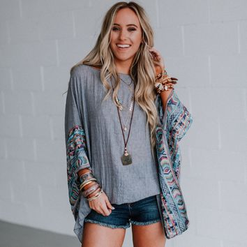 Fallon Embroidered Sleeve Kimono - Charcoal