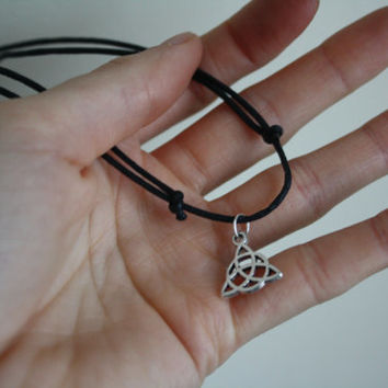 Black waxed cotton choker necklace with silver tribal tibetan pendant charm