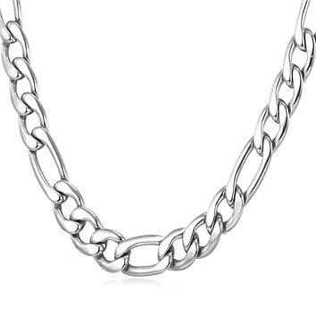 Mens Stainless Steel Long Figaro Chain