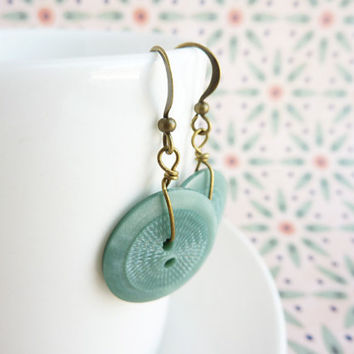 Vintage button earrings sage green antique brass by KittyBallistic