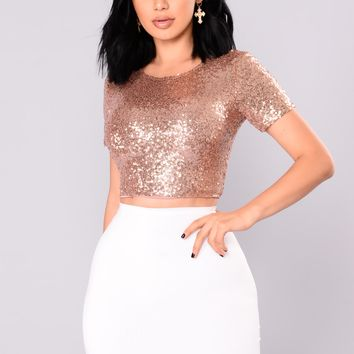 Stellar Sequin Crop Top - RoseGold