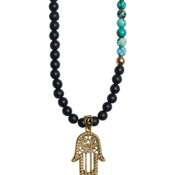 Men's Beaded Necklace with Matte Onyx, Turquoise and Gold Hamsa Hand