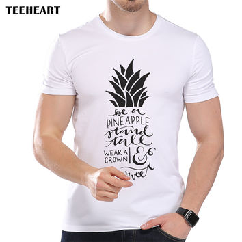 Men's Letter Pineapple Designer T-Shirt Cool Summer Modal Fruit Graphic Top Tees