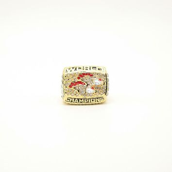 FGHGF Hot 1998 Denver Broncos Annual Champion Ring Stylish High Quality Ring and Beautiful Wooden Gift Box Commemorate Gift