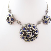 Flower Necklace Metal Flowers Blue Stones Floral Necklace Gypsy Jewelry Bohemian Chic Fashion