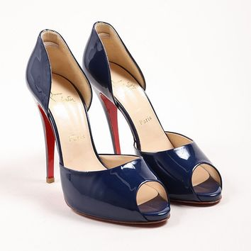 CREYU2C Navy Blue Patent Leather D Orsay Peep Toe Pumps 67a88f5e452e