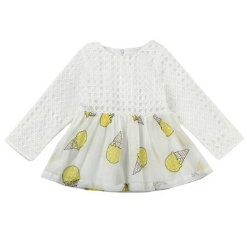Autumn Winter Children's Clothing Cotton Ice Cream Prints Girl Long Sleeved Dress Baby Princess Costumes Girls Christmas Party
