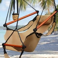 New Deluxe Tan Sky Air Chair Swing Hanging Hammock Chair W/ Pillow & Drink Holder:Amazon:Home & Kitchen