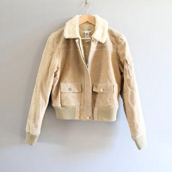 Genuine Suede Leahter Bomber Jacket Shearling Leather Jacket Vintage 90s Size S  #O201A