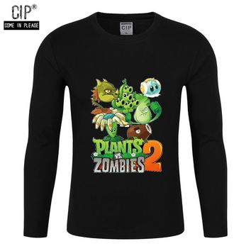 100% Cotton Plants VS Zombies Boys Baby Outerwear Clothing Spring 2018 Child T Shirts Long Sleeve Children Sweater Cartoon Kids