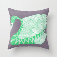 Aztec Swan Throw Pillow - Double Sided Throw Pillow - Faux Down Insert - Illustrated Pillow Cover