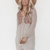 Mothers Daughter Taupe Floral Long Sleeve Dress