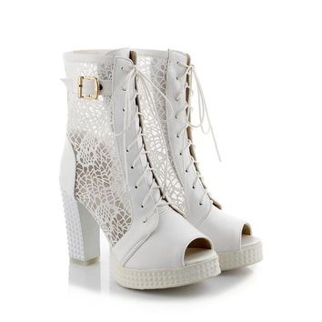 Chinese elegant party style open toe summer cool ankle boots embroidered flower hollow out lace-up zipper high heels women boots