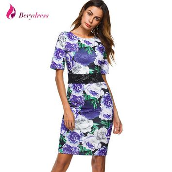 Berydress Elegant Women Cocktail Party Short Sleeve Midi Dress Sheath Bodycon Knee-Length Floral Print Flowers Pencil Dresses