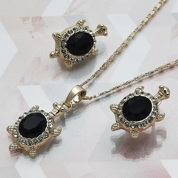 Gold Layered Women Turtle Necklace and Earring, with Black Crystal, by Folks Jewelry