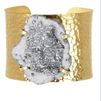 Women's Jewelry-Gold Hammered Silver Metallic Druzy Cuff