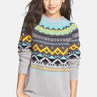 BP. Back Zip Fair Isle Cardigan (Juniors) | Nordstrom