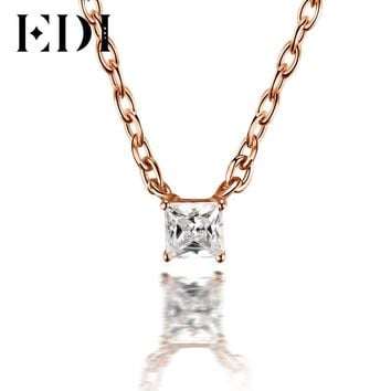 EDI Classic 0.1ct Princess Cut Natural Diamond Wedding Pendant For Women 18K Solid Rose Gold Pendant 16' Necklace Chain Jewelry