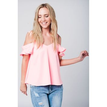Pink cold shoulder ruffled top