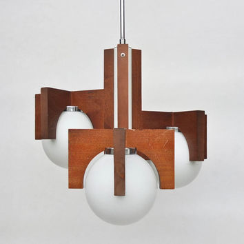 Socialist Design Ceiling Lamp / Chanedlier / Interior Lighting / Brown Wood / 70's Yugoslavia