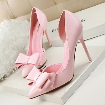 Bow-knot High Heel Shoes Side Hollow Pointed Women Pumps