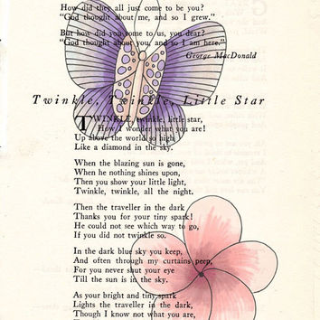 Book Page Art Purple Butterfly and Pink Flower Poem Page Art Upcycled Art Print Antique Poem Book Purple Butterfly Print cp381