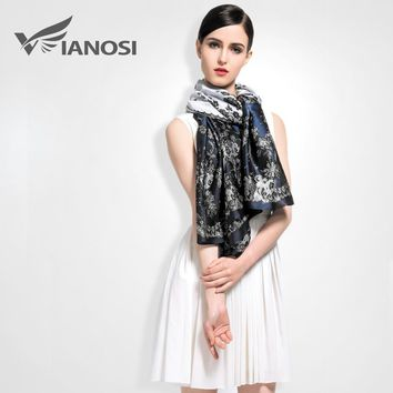 [VIANOSI] Brand scarf Women Vintage Flower Design Silk Scarves Fashion Bohemian Style Shawls and Hijabs Ladies VA010