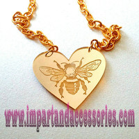 HONEY-Bumblebee Etched Heart Gold Mirror Etched Laser Cut Acrylic Pendant Necklace