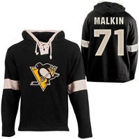 Old Time Hockey Evgeni Malkin Pittsburgh Penguins Grant Lace Alum Name & Number Pullover Hoodie - Black
