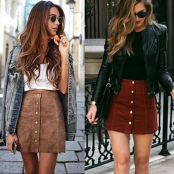 Hot Fashion 2017 Summer Women High Waist Lace Up Suede Leather Pocket Preppy Short Mini Skirt