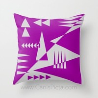 Geometric Jungle Throw Pillow Cushion Decorative Cover Home Interior Couch Bed Room Decor Modern Neon Hot Purple Grey Triangle Shapes Spikes