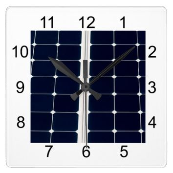 Solar power panel square wall clock