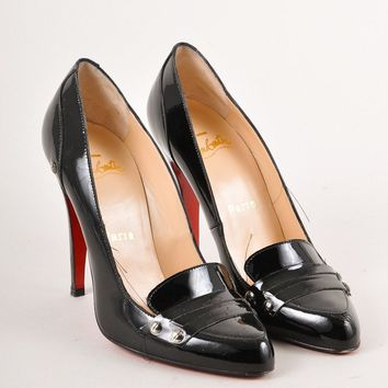 KUYOU Black Patent Leather Loafer Pumps
