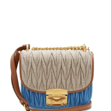 Matelassé linen and leather cross-body bag | Miu Miu | MATCHESFASHION.COM US