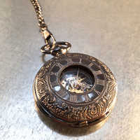 Industrial Style Pocket Watch on a Pocket Watch Chain, Pocket Watch, Mechanical Movement, Roman Numerals