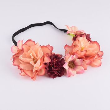 CXADDITIONS Peony Lilac Flower Crown Headband Headwrap Elegant Bridesmaid Bridal Floral Crown Boho Rustic Women Wedding Hairband