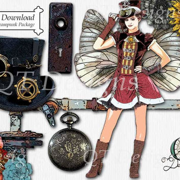 Steampunk Theme Graphic Design Pack | 12 png images with transparent background, high res 300 dpi, Camper, Sign, Gypsy, Ribbon Clip Art