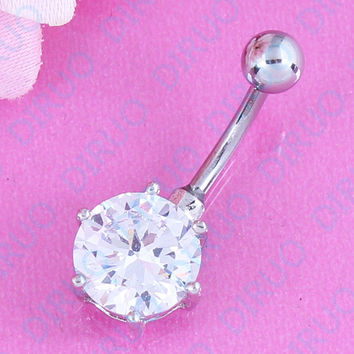 Belly Button Ring - Round Zircon made of surgical steel and nickel-free.