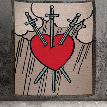 Large Woven Tapestry - Three of Swords Tarot Card Tapestry - Rider Waite Deck - Cotton