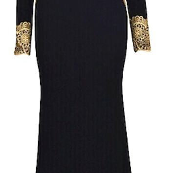 Octavia Ornate Matador Inspired Maxi Dress - Black & Gold