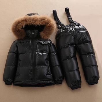 Russian winter baby boy clothing set duck down children jacket for girl coat overalls warm jacket kid girl clothes set