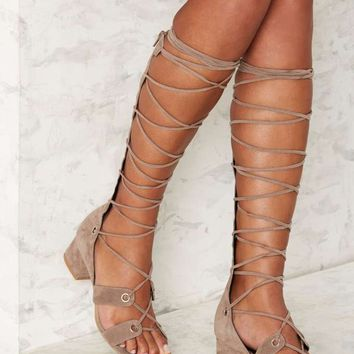 Jeffrey Campbell Bryndis Suede Gladiator Sandal - Taupe