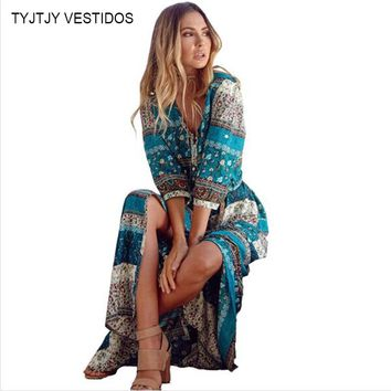 2017 new Bohemian printing long dress women maxi long dress floral print retro hippie vestidos chic brand clothing boho dress