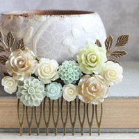 Mint Bridal Hair Comb Floral Collage Comb Green Wedding Vintage Style Cream Rose Comb Gold Bridal Hair Piece Bridesmaids Gift Country Chic