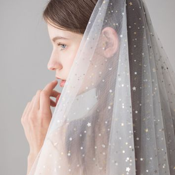 Two Layers White Ivory Wedding Veil Bridal Veil star sequins Short Tulle Veils with comb Wedding Accessories